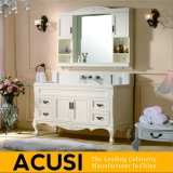 ヨーロッパ式の熱い販売の白い純木の浴室の虚栄心(ACS1-W11)