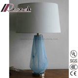 침실을%s 현대 유일한 유리와 직물 테이블 램프