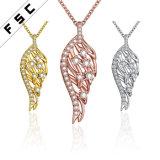 女性のための卸し売り古典的な羽の立方ジルコニアの吊り下げ式のネックレス