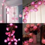 Indicatori luminosi leggiadramente di Opearated della batteria di prezzi all'ingrosso LED 2m20LED Rosa per la decorazione di giorno di Valentine di natale