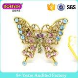 Broche de broche de borboleta de cristal de ouro personalizado para mulher