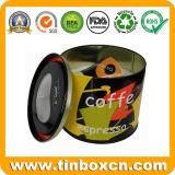 Empacotamento de alimento em volta das caixas do estanho, latas de estanho do presente do metal
