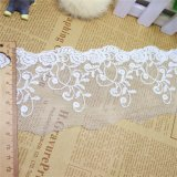 cordón químico de la tela del cordón de la tela del bordado de la anchura de los 9cm del poliester del bordado de la suposición blanca del recorte para el accesorio de la ropa y materias textiles y cortinas caseras