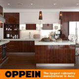 ブラウンの現代木製のメラミン島(OP15-M08)が付いているモジュラー食器棚