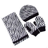 Cappello del leopardo, guanto e sciarpa lavorati a maglia jacquard (JRK112)