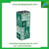 Sac raffiné de luxe de bouteille de vin de sac de papier d'emballage de cadeau avec la bande