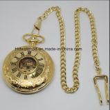 Montre de poche en mates mécaniques en or pour hommes avec chaîne