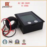 LCD de 360 graus AC monofásico tensão de alimentação 0-100 um amperímetro Medidor digital de energia