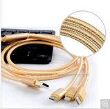 3 in 1 Nylon Gevlechte Kabel USB voor iPhone Anroid