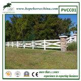 Загородка поля PVC перекрестного рельса, загородка лошади, загородка PVC фермы
