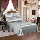Conjunto puro de plata de lujo verdadero inconsútil de seda estándar de la hoja de la seda de mora de ropa de cama de Oeko-Tex 100 de seda de la serie de la elegancia de la nieve de Taihu 19momme