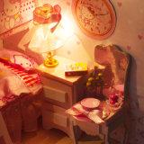 Nuevo diseño con la casa de madera miniatura de la luz y de los muebles DIY