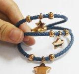 Kundenspezifischer Name gravierter Edelstahl-echtes Leder-Armband-Großverkauf