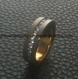 Simple de acero inoxidable de titanio, oro 18k de los anillos de moda