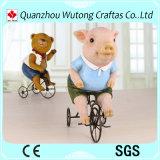 창조적인 디자인 수지 동물성 돼지 곰 탐 자전거 작은 조상