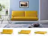 Salón Moderno tejido amarillo sofá-cama para el hogar (HC111)