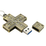 Lecteur flash USB en travers du collier USB Pendrive Jésus en métal