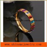 Boucle de bijou plaquée par or de pierre de grand dos de zirconium de boucle d'acier inoxydable (CZR2569)