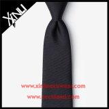 Legame nero scarno tessuto seta perfetta del nodo 100% per gli uomini