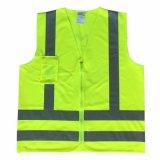 高い可視性のベストのポケットが付いている反射安全ベストはカスタマイズされて受け入れる