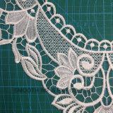 Мода белый свадебные платья ткани текстильный воротник кружевной вышивкой цветов