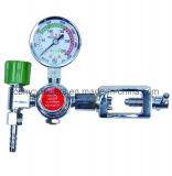 加湿器のびんが付いているYタイプ酸素の流量計