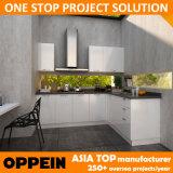 Быстрая доставка современное здание белого цвета модульного ПВХ деревянные кухонные шкаф (OP14-K009)