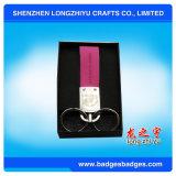 Llavero de cuero de alta calidad y de encargo con la caja para la promoción