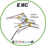 bateria recarregável do polímero de 3.7V 1000mAh Lipo 102050