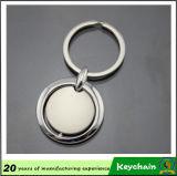 Forma redonda de metal llavero en blanco