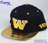 Surtidor de cuero de oro del sombrero del casquillo del Snapback del borde