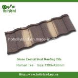 Strato d'acciaio del tetto con i chip di pietra ricoperti (mattonelle romane)