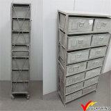 Gabinete de arquivamento retroiluminado industrial Retro Gery Metal com roda