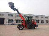 cargador telescópico de la rueda de la maquinaria de granja 2ton con el compartimiento 1m3