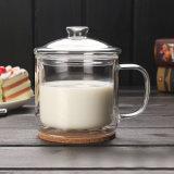 Grande tazza doppia del latte della tazza di caffè di vetro di Borosilicate della tazza del succo di arancia di formato