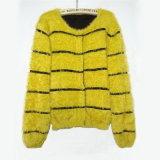 Luva por atacado do bastão da camisola, projeto de angorá, camisola do casaco de lã da tira de angorá