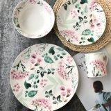 Bol de céréale peint à la main de bifteck de nourriture d'Occidental-Type de plaque d'aquarelle