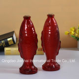 Bouteille en verre de décanteur de vin rouge de forme de poissons avec les couvercles en verre et en bois