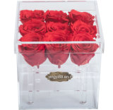 주문 방수 명확한 아크릴 플라스틱 꽃 로즈 보석 초콜렛 단화 결혼식 사탕 명예 전시 상자