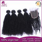 ねじれた巻き毛のインドの毛のWeft加工されていないバージンの人間の毛髪の織り方