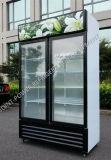 똑바로 찬 음료 전시 2개의 유리 문 냉장고