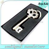Kundenspezifischer schwarzer Geschenk-Kasten-Metalschlüssel-Form-Schlüsselring-Halter