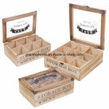 Seção de Armazenamento de vários compartimentos caixa de chá em madeira com tampa de vidro