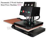 40x60cm 2 estaciones de trabajo de transferencia de calor neumática Pulse las prendas de vestir Camiseta máquina de impresión