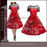 Plus la taille des arbres de Noël filles imprimé Vintage robe de fête (TSY1921)