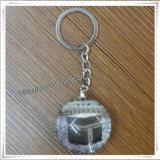 Catena chiave di vetro del metallo religioso della lega di modo con le maschere (IO-ck078)