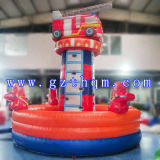 Kidsのための火Truck Cartoon Inflatable Rock Climbing WallかInflatable Climbing Rope Wall