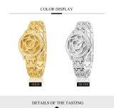 Blumen-Form-Diamant-Quarz-Uhr für Quarz-Batterie-wasserdichte Japan-Bewegungs-Luxuxarmbanduhr-Markennamen Belbi der Dame-Edelstahl