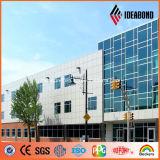 Painel de alumínio da fachada do edifício brilhante do revestimento da prata PVDF