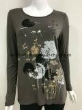 Löwenzahn-Muster-langes Hülsen-T-Shirt für Wowen mit Drucken